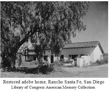 restored historic adobe home on the Rancho Santa Fe, San Diego