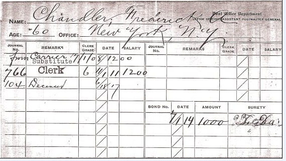 Frederick August Chandler pay record, NY Post Office