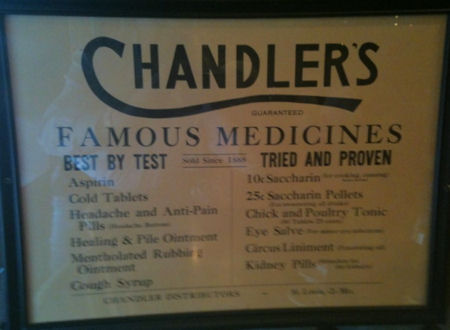 advertising sign for Chandler's Famous Medicines