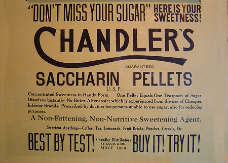 Chandler's Saccharin Pellets label.