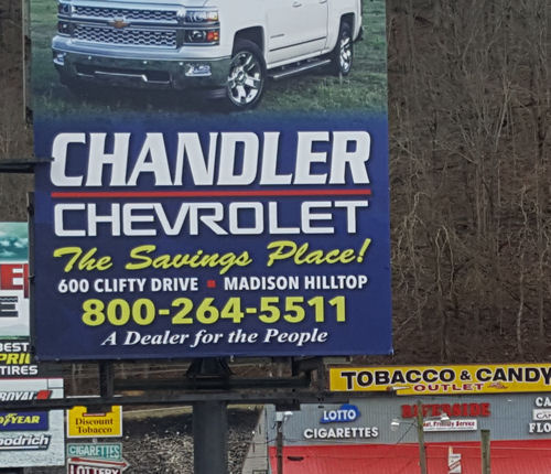 Awesome Larry Douglas Chandler Spotted This Sign Along The Highway In Milton,  Kentucky, Advertising The Chandler Chevrolet Dealership In Madison, Indiana.